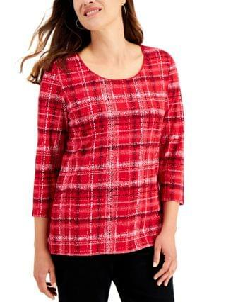 WOMEN Plaid Top, Created for Macy's