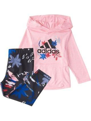 KIDS Little Girls Long Sleeve Melange Hooded 2-Piece Top and Printed Tight Set