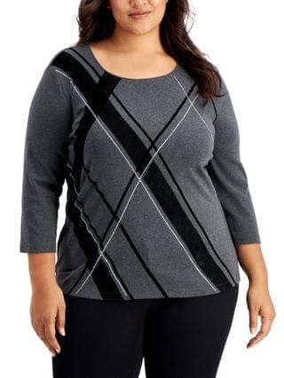 WOMEN Plus Size Evening Decor Plaid-Front Top, Created for Macy's