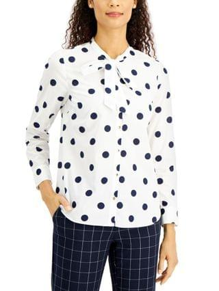 WOMEN Petite Dot-Print Button-Front Cotton Top, Created for Macy's