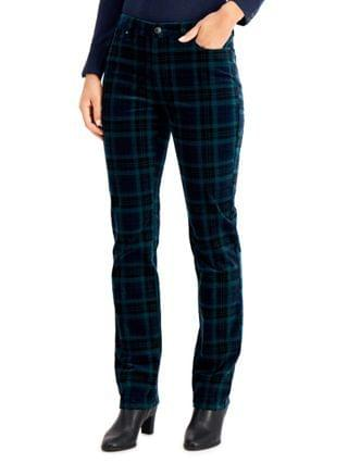 WOMEN Plaid Straight-Leg Jeans, Created for Macy's