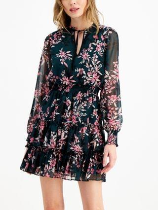 WOMEN Floral-Print Mini Tie-Neck Dress, Created for Macy's