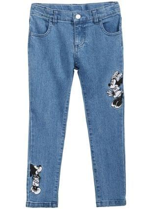 KIDS Little Girls Minnie & Mickey Mouse Embroidered Jeans