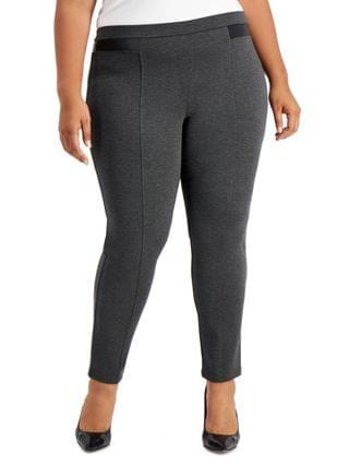 WOMEN Plus Size Faux-Leather Pont Knit Pants, Created for Macy's