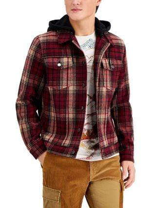 MEN Plaid Trucker Jacket, Created for Macy's