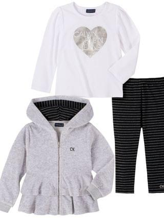 KIDS Little Girl Velour Hooded Short Jacket with A Long Sleeve Top and Striped Legging, 3 Piece Set