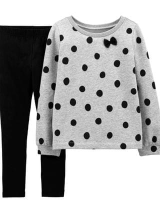 KIDS Big Girls 2-Piece Polka Dot Fleece Top and Legging Set