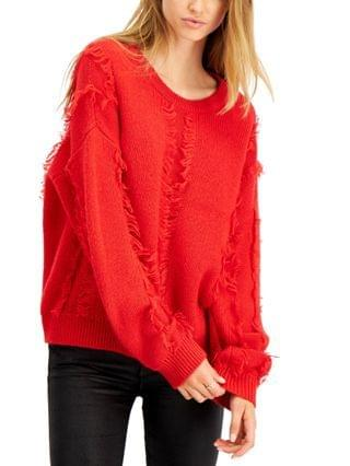 WOMEN Frayed Crewneck Sweater, Created for Macy's