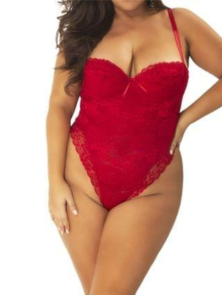 WOMEN Plus Size High Leg All Over Lace Teddy