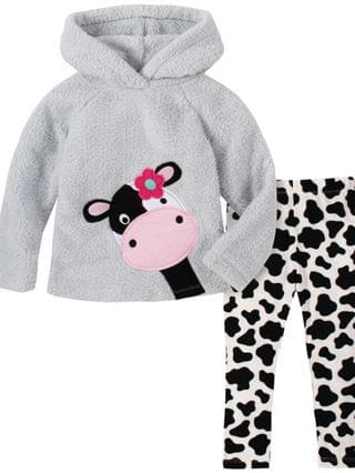 KIDS Little Girl 2-Piece Hooded Fleece Top with Cow Print Legging Set