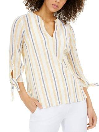 WOMEN Striped Tie-Sleeve Top