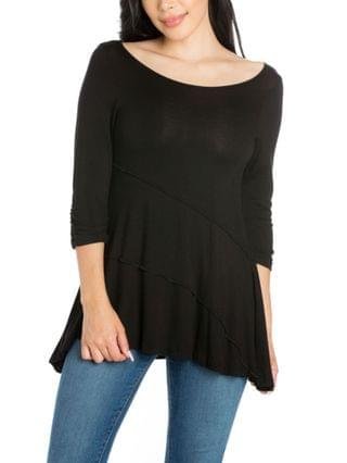 WOMEN Ruched Sleeve Swing Tunic Top