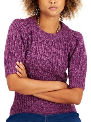 WOMEN I.N.C. International Concepts Petite Marled Puff-Sleeve Sweater, Created for Macy's