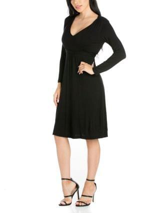 WOMEN Long Sleeve V-Neck Cocktail Dress