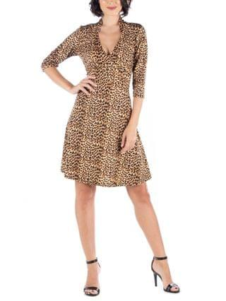 WOMEN Leopard Print V-Neck A-Line Dress