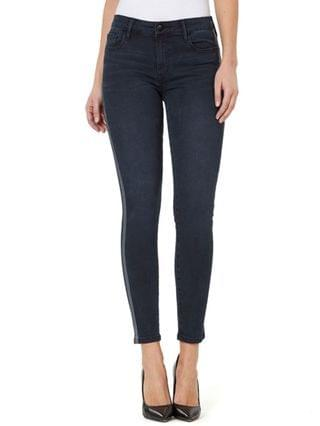 WOMEN Mid-Rise Side-Stripe Skinny Ankle Jeans