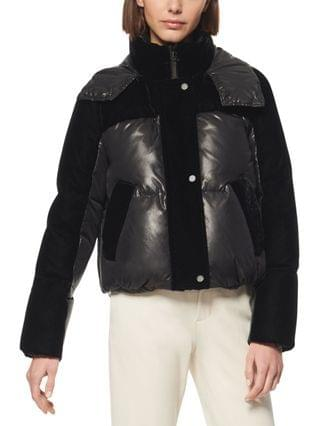 WOMEN Marc New York Vega Hooded Mixed-Media Down Puffer Coat