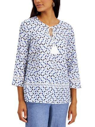 WOMEN Cotton Printed Tie-Neck Top, Created for Macy's