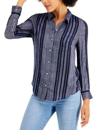 WOMEN Petite Sparkle Striped Shirt, Created for Macy's