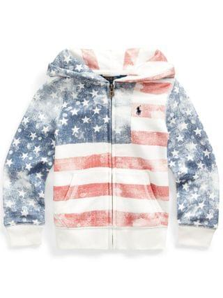 KIDS Toddler and Little Girls Flag French Terry Hoodie Sweatshirt