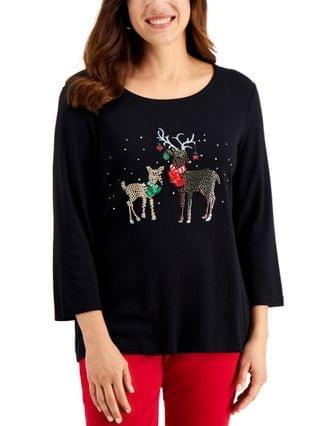 WOMEN Winter Prance Reindeer-Graphic Top, Created for Macy's