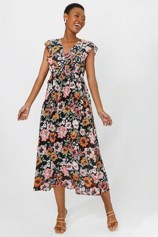 WOMEN Floral Wrap Dress