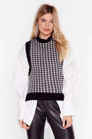 WOMEN Tell Us the Houndstooth Knitted Vest Top
