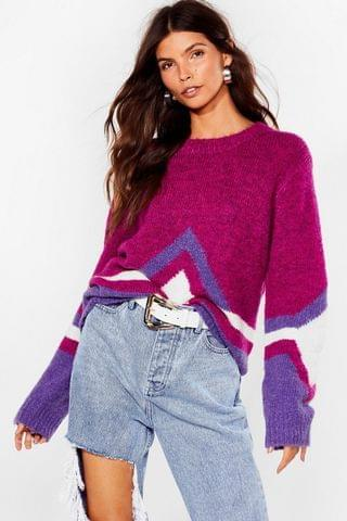 WOMEN Tell Knit to My Face Fluffy Relaxed Sweater