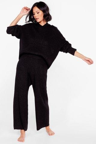 WOMEN Knit's the New Style Hoodie and Wide-Leg Pants Set