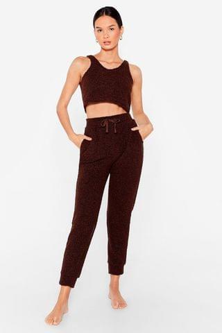 WOMEN Knit's Our First Choice Fluffy Crop Top and Jogger Set