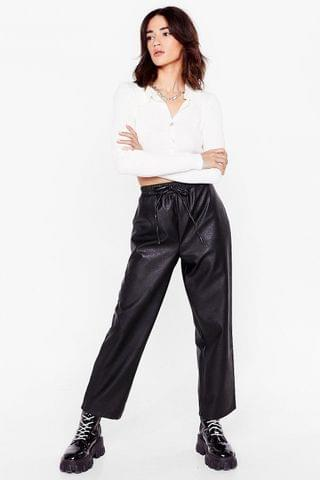 WOMEN Faux Leather Called You Back Petite Jogger Pants