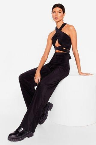 WOMEN Get It Together Halter Crop Top and Wide-Leg Pants Set