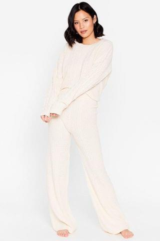 WOMEN Cable Knit It Off Sweater and Pants Lounge Set