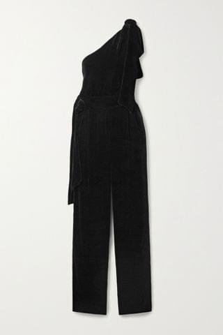 WOMEN LES R VERIES One-shoulder velvet jumpsuit