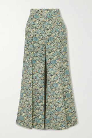 WOMEN GUCCI Cropped floral-print wool and mohair-blend wide-leg pants