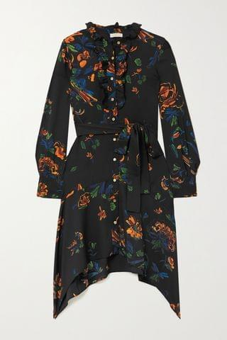 WOMEN TORY BURCH Cora belted ruffled floral-print crepe dress