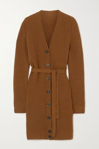 WOMEN YOOX NET-A-PORTER FOR THE PRINCE'S FOUNDATION Belted ribbed cashmere cardigan