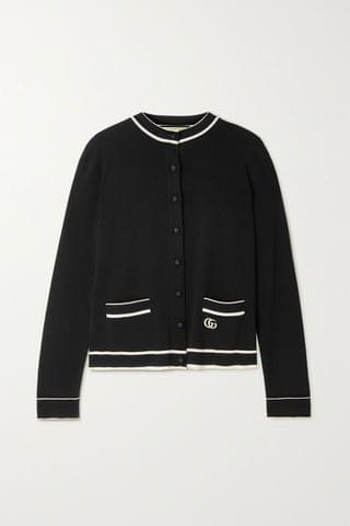 WOMEN GUCCI Striped embroidered knitted cardigan
