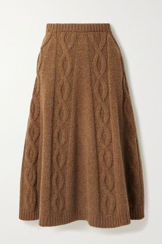 WOMEN BROCK COLLECTION Cable-knit cashmere midi skirt