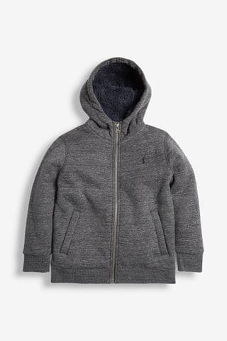 KIDS Charcoal Grey Borg Lined Zip Through Hoody (3-16yrs)