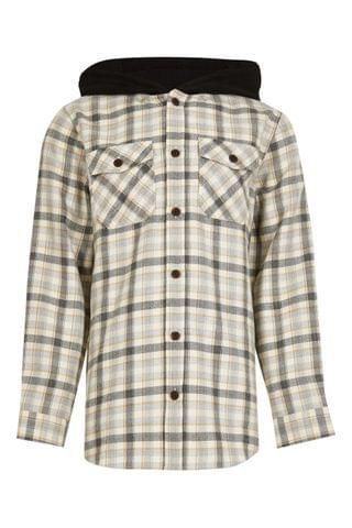 KIDS River Island Black Checked Hooded Overshirt