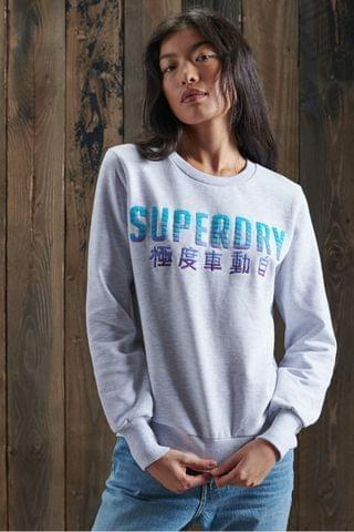 WOMEN Superdry Limited Edition Embroidery Fade Crew Sweatshirt