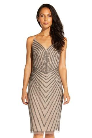 WOMEN Adrianna Papell Nude Short Beaded Cocktail Dress