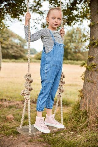 KIDS Denim Mid Blue Slouchy Romper Dungarees (3-16yrs)