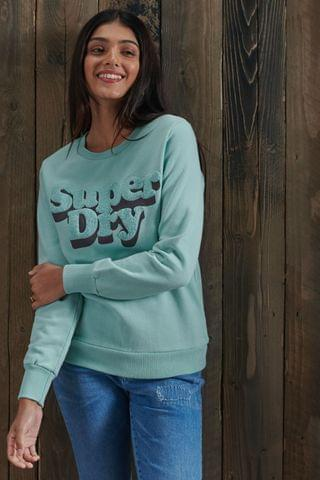 WOMEN Superdry Limited Edition Chenille Shadow Crew Sweatshirt