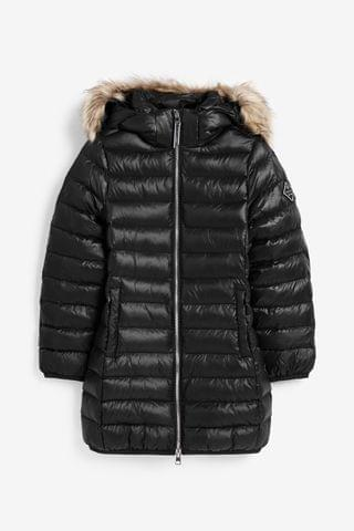 KIDS GANT Black Long Faux Fur Padded Jacket
