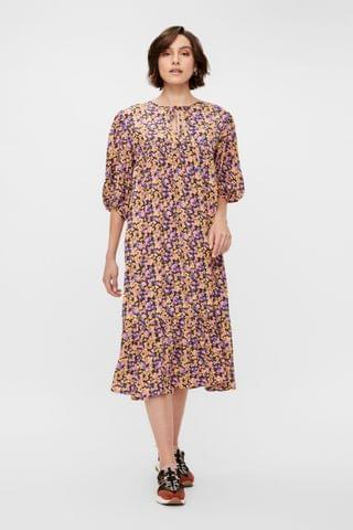WOMEN Y.A.S Floral Print Sori Puff Sleeve Midi Dress