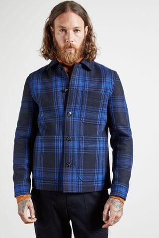 MEN Ted Baker Blue Rift Checked Double Faced Workwear Jacket