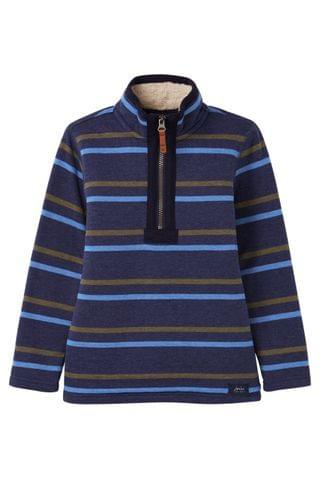 KIDS Joules Blue Winter Dale Fleece Lined Overhead Sweatshirt