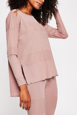 WOMEN River Island Pink Light Long Sleeve Keyhole Detail Top